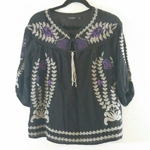 MM Couture by Miss Me Boho Silk Peasant Top Large